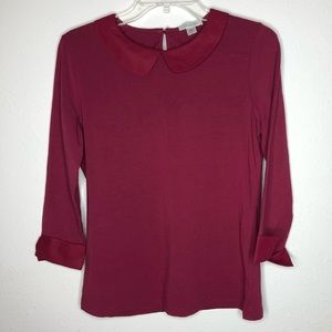 Burgundy Garnet Hill Blouse w Peter Pan Collar
